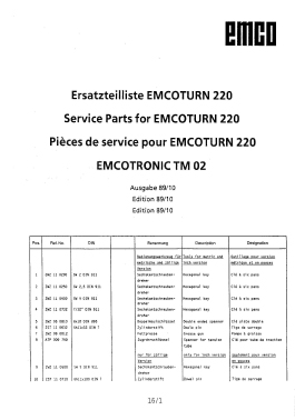 Emco Turn 220 service parts